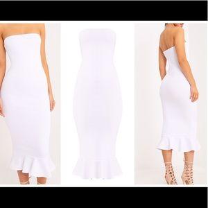 Isabella White Bandeau Frill Hem Midaxi Dress